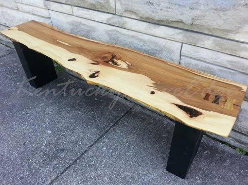Custom Made Live Edge Bench- Modern Bench- Modern Coffee Table- Natural Wood- Wooden Bench- Hickory