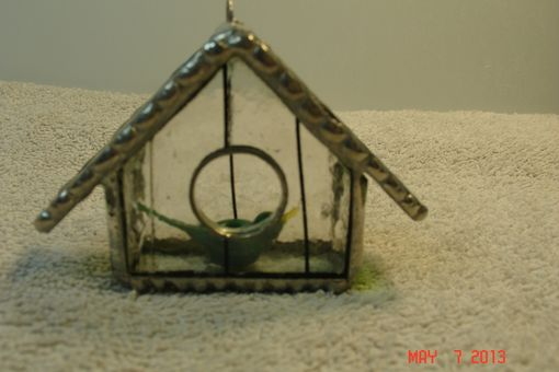 Custom Made Green Bird In Stained Glass In Empty Nest Bird House Ornament