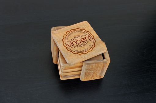 Custom Made Custom Bamboo Coasters, Custom Engraved Coasters --Cst-Bam-Amanda & Charles
