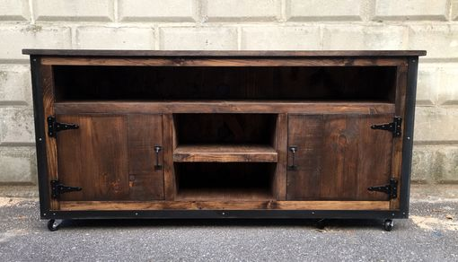 "Custom Made Rustic Industrial Weathered Barn Board Entertainment Center Tv Stand Reclaimed Wood 62"" (Walnut)"