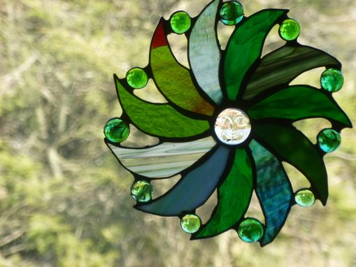 Custom Made Moon Face And Sun Rays Stained Glass Art In Green