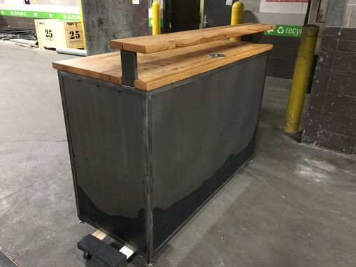 Custom Made Steel And Reclaimed Hardwood Reception Desk
