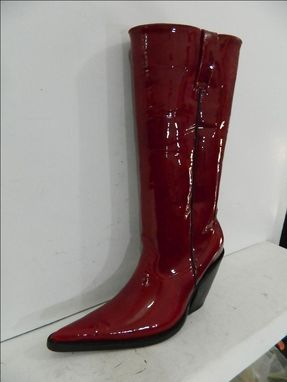 afac430928a37 Handmade Dark Red Patent Leather Extreme Sharp Toe Cowboy Boots 4 ...