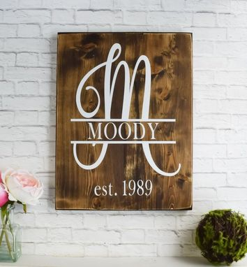 Custom Made Swirled Monogram Family Name Established Sign - Last Name Wood Sign - Personalized Wooden Decor