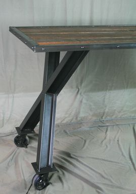 Custom Made Industrial Desk, Table - Modern Industrial Dining Table - Vintage Industrial, Reclaimed Wood, Steel