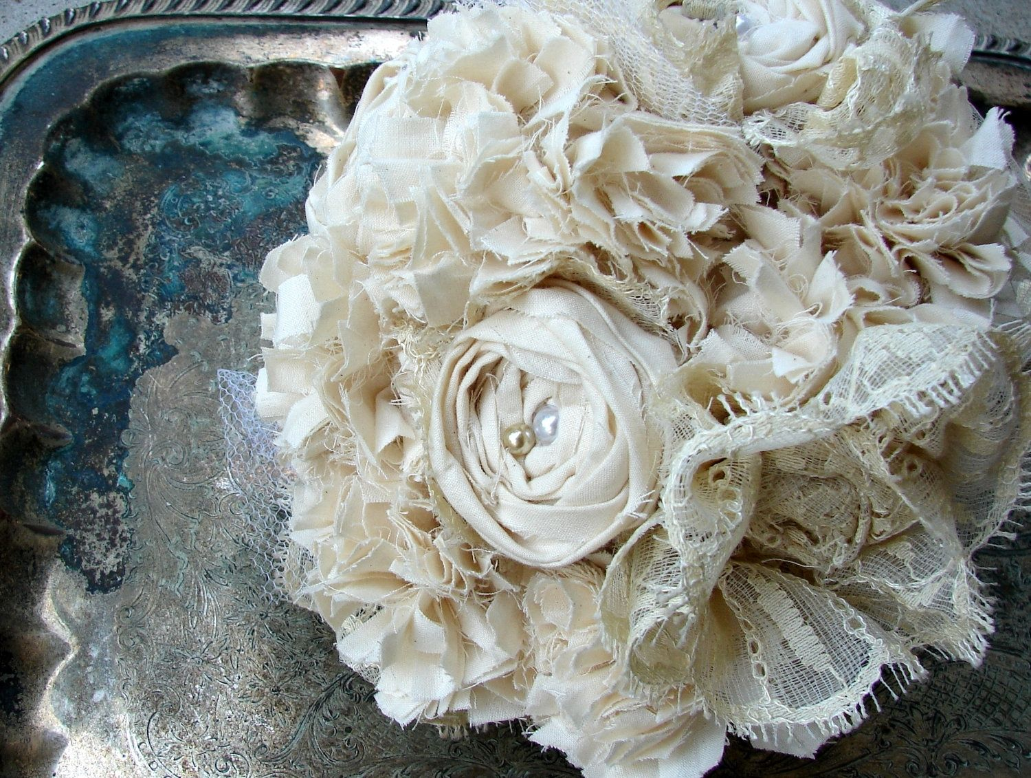 Hand Crafted Lace Fabric Bouquet