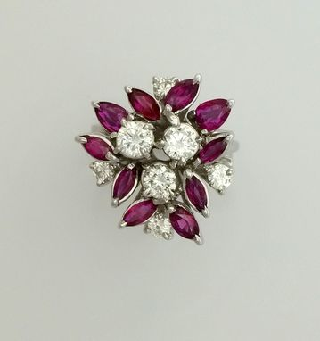 Custom Made 1.70 Ct. Ruby & 0.90 Ct.Diamond Hand Made Cocktail Ring - 18k White Gold