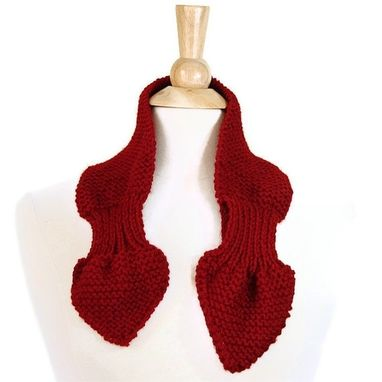 Custom Made Knit Scarf - Keyhole Scarf Scarflette Cranberry Red