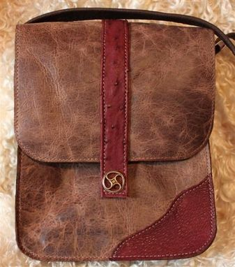 Custom Made Messenger Bag  For Laptops, Tablets With Ostrich Accent