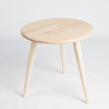 Custom Made Round Mid Century Modern Solid Wood Tables