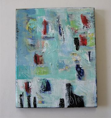 "Custom Made Original Acrylic Turquoise Abstract Painting, 8"" X 10"""