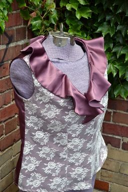 Custom Made Satin And Lace Flounce Blouse