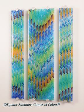 Custom Made Fused Glass Wall Panel Aurora