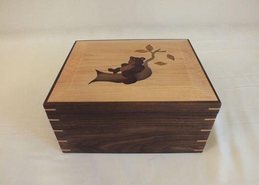 Custom Made Keepsake Box With Custom Inlay Of A  Bear