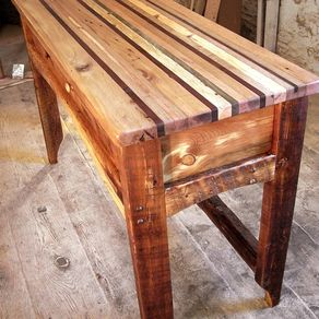 Butcher Block Kitchen Island From Reclaimed Hardwood And Rustic Pine Base By The Strong Woodshop