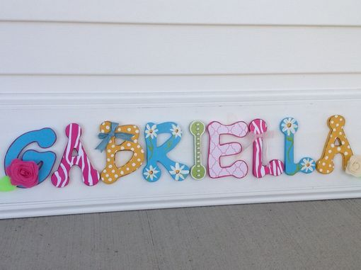 Hand Made Girls Bedroom Decor Wood Letter Name Sign, Pink