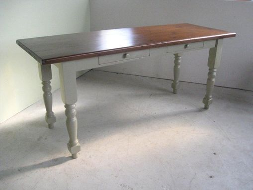 Custom Made Coastal Style Kitchen Table With White Legs