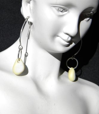 Custom Made Milk And Silver Dangle Earrings