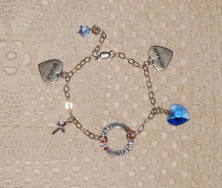 Custom Made Sterling Silver Survivor Chain Bracelet With Courage & Family Charms & Swarovski Crystal Heart