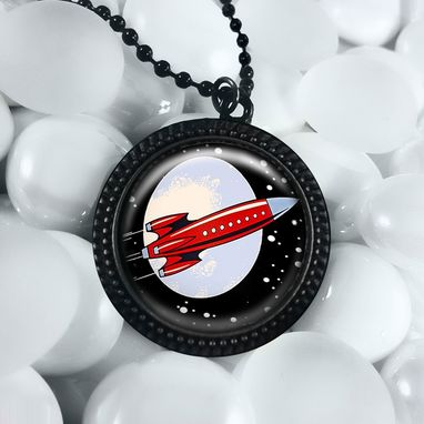 Custom Made Retro Rocket Ship Black Outer Space Pendant Necklace 05-Jbrn