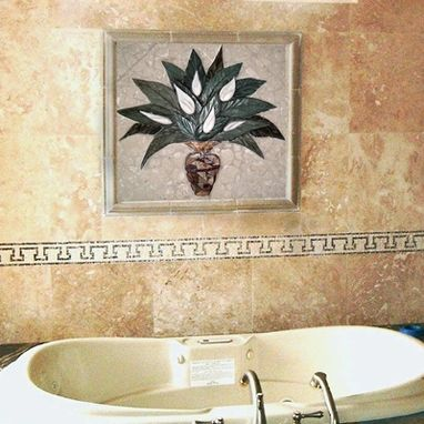 Custom Made Peace Lilly Floral Bathroom Tile Mural