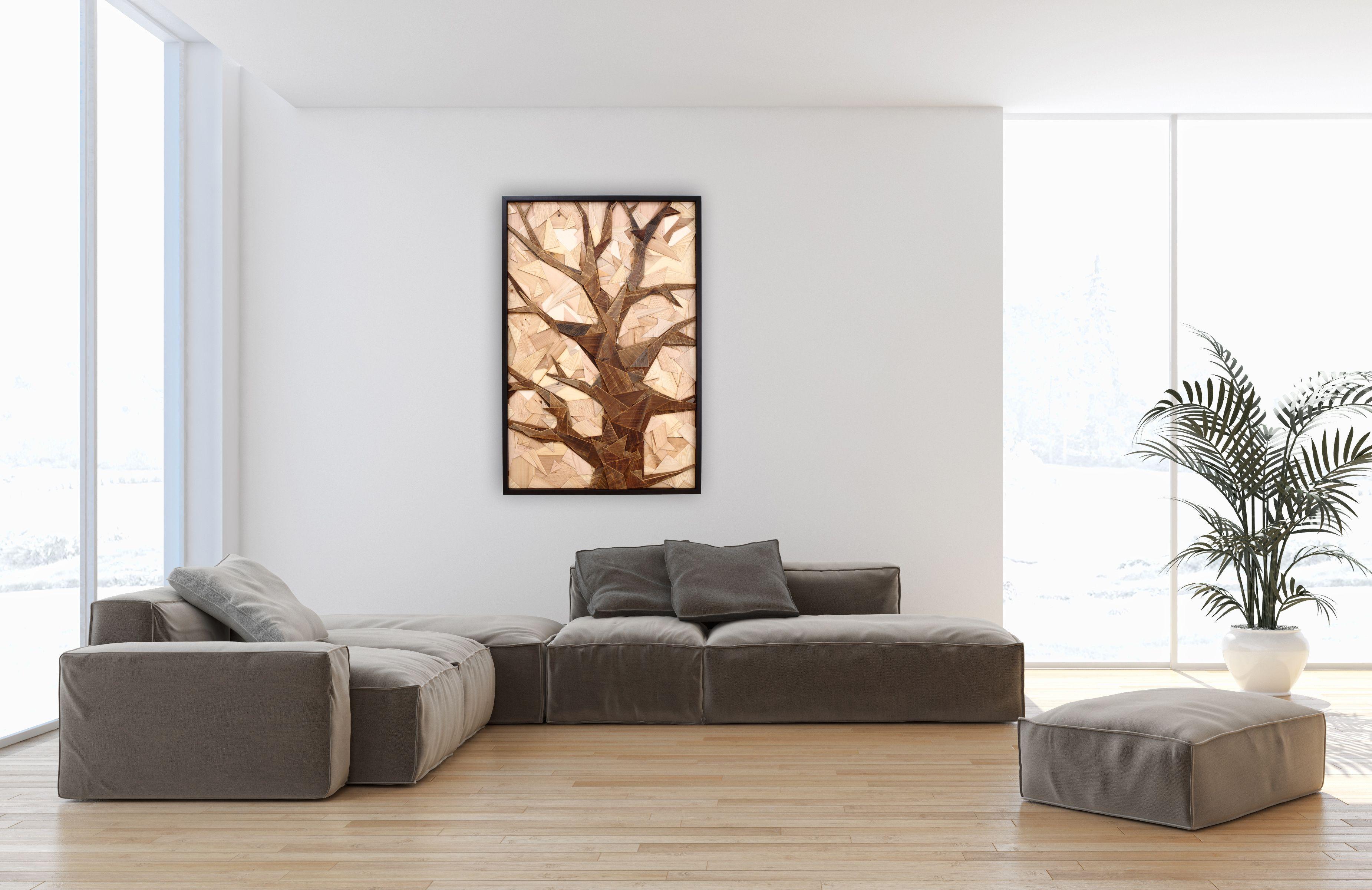Custom Geometric Tree Artwork Made Of Old Reclaimed Barnwood, Wood ...