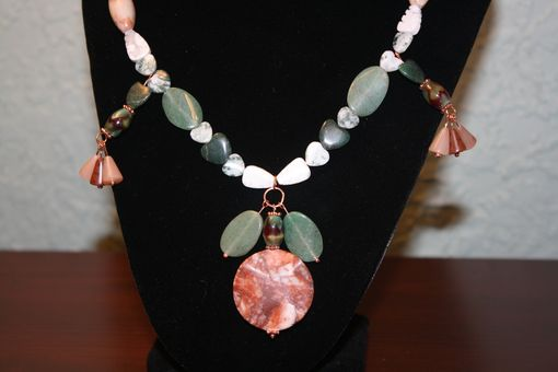 Custom Made Natural Stone And Glass Bead Necklace And Earrings With Copper Accents