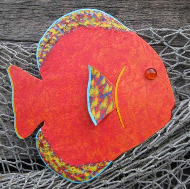 Custom Made Handmade Upcycled Metal Tropical Fish Wall Art Sculpture In Red