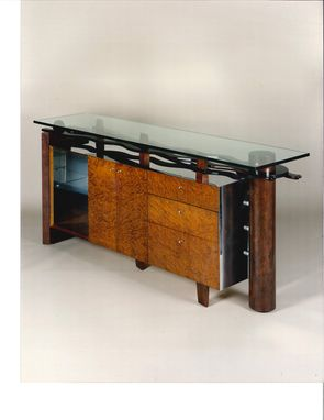 Custom Made Linville Buffet In With Multiple Finishes Of Metal, Wood, Glass And Color.
