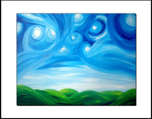 Custom Made Original Modern Abstract Night Stars Landscape Painting, Dan Lafferty - Starry Night Above The Hills