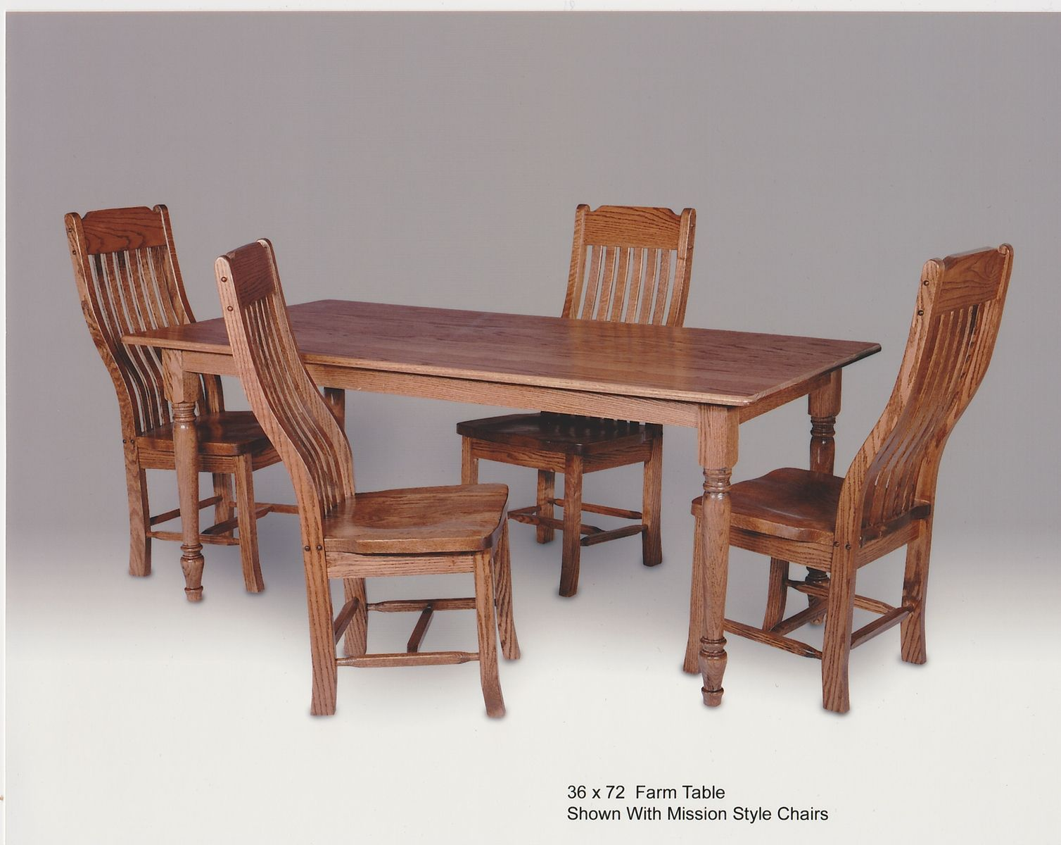 Custom Made Oak Farm Table With Mission Style Chairs