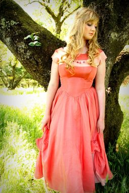 Custom Made Vintage 1950s Prom Party Dress In Salmon And Soft Pink Silk With Bow Accents For A Princess S