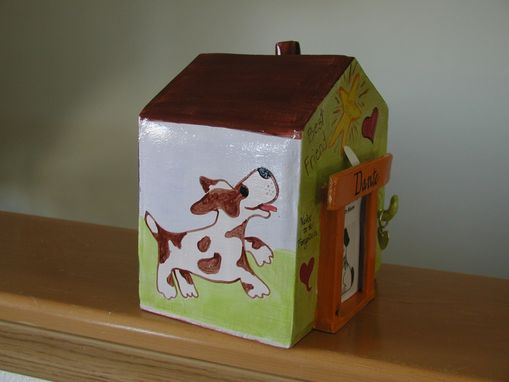 Custom Made Whimsical Doghouse Dog Cremation Urn