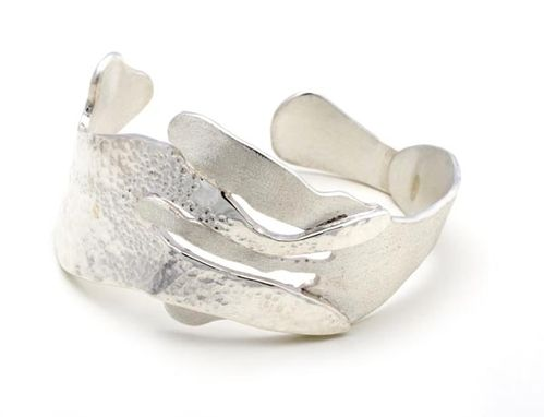Custom Made Sterling Silver Wave-Inspired Cuff