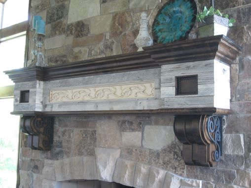 Custom Made Fireplace Mantel Knotty Alder With Wrought Iron Scrolling And Salvaged Barn Wood