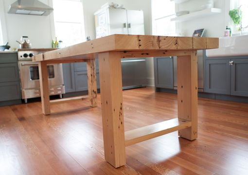 Custom Made Farmhouse Table Made From Reclaimed Fir Ceiling Beams