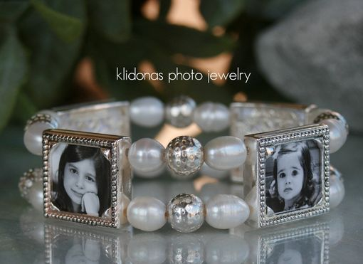 Custom Made Picture Bracelet, Photo Jewelry, Photo Charm Bracelet, Freshwater Pearl Bracelet