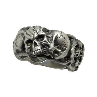 Custom Made Silver 925 Custom Made Scull Band Masonic Memento Mori Mens Biker Ring
