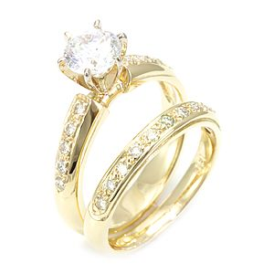 Custom Made Round Diamond Ring And Matching Band In 14k Yellow Gold, Wedding Set Ring