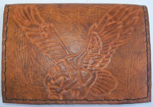 Custom Made Custom Leather Passport Wallet With Eagle Design In Weathered Color