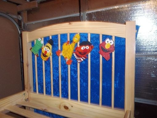 Custom Made Child's Single Bed With Sesame Street Look Alike Carvings
