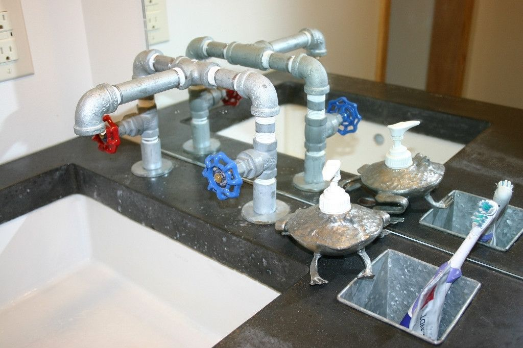 Custom Made Concrete Vanity And Galvanized Faucet by HULK ...