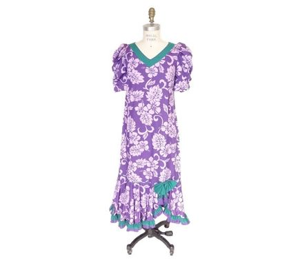 Custom Made Hawaiian Muumuu Dress With Hibiscus Print, Gathered Sleeves And Ruffled Bottom - Purple