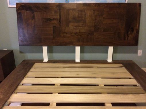 Custom Made Walnut And Steel Platform Bed