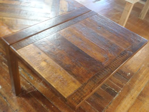 Custom Made Reclaimed Farmers Table With Herringbone Pattern And Leaves