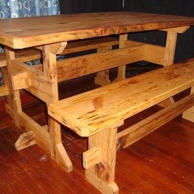 Custom Made Trestle Table With Bredboard Ends And Matching Benches