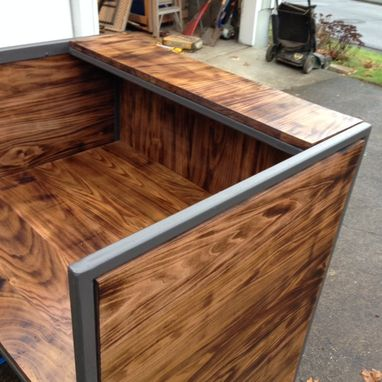 Custom Made Torched Poplar And Steel Reception Desk