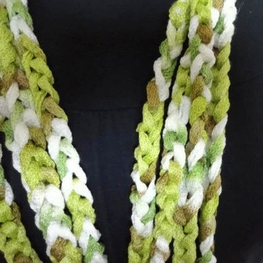 Custom Made Lightweight Cowl Necklace Infinity Scarf Spring Green White Tan