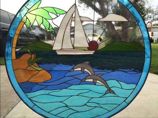 Custom Made Dolphin & Sailboat Circular Stained Glas Window Panel