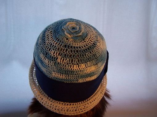 Custom Made Blue And White Crochet Cloche